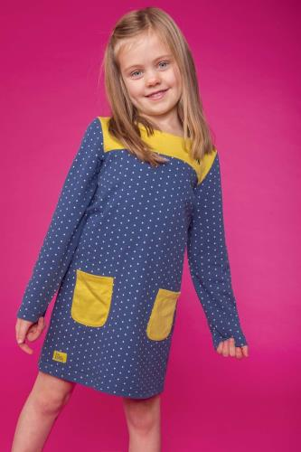 Girls Blue Spot Dress