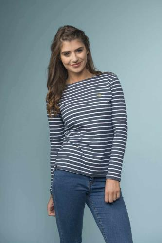 Ladies Breton Top (Midnight Stripe)
