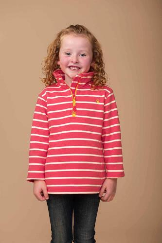 Girls Pink Stripe Half Zip Jersey