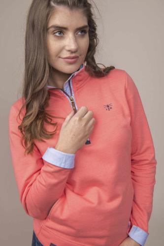 Ladies Half Zip Cotton Sweatshirt (Blossom Pink)