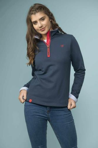 Ladies Half Zip Cotton Sweatshirt (Navy)